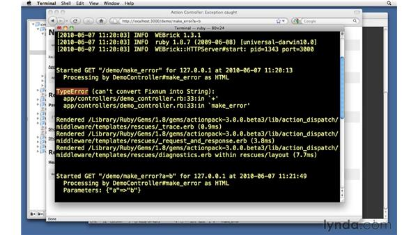 Errors in the development environment: Ruby on Rails 3 Essential Training