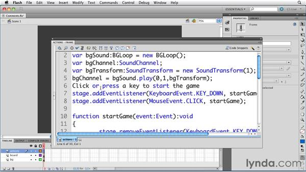 Using the Actions panel buttons to add and remove comments: ActionScript 3.0 in Flash Professional CS5 Essential Training