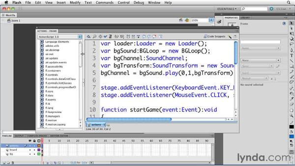 Using the Actions panel Toolbox: ActionScript 3.0 in Flash Professional CS5 Essential Training