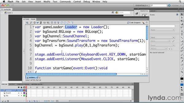 Seldom-used but helpful functions of the Actions panel: ActionScript 3.0 in Flash Professional CS5 Essential Training