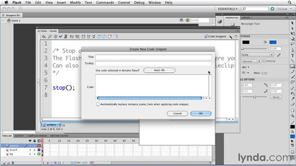 Reviewing the Code Snippets panel : ActionScript 3.0 in Flash Professional CS5 Essential Training