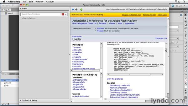 Using help: ActionScript 3.0 in Flash Professional CS5 Essential Training