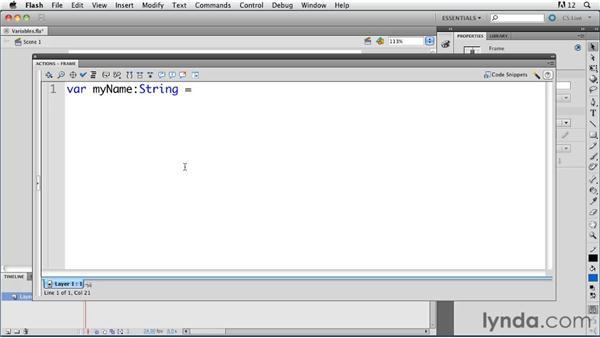 Understanding variables : ActionScript 3.0 in Flash Professional CS5 Essential Training