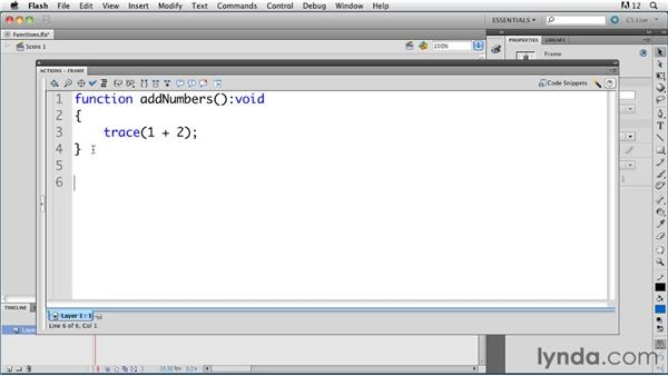 Understanding functions : ActionScript 3.0 in Flash Professional CS5 Essential Training