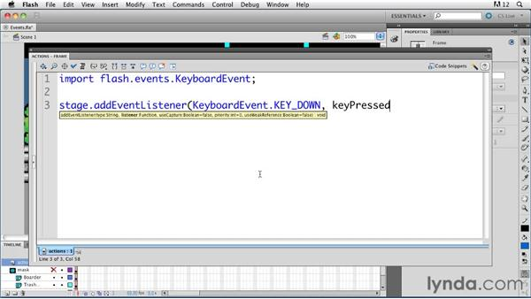 Understanding events and event listeners: ActionScript 3.0 in Flash Professional CS5 Essential Training