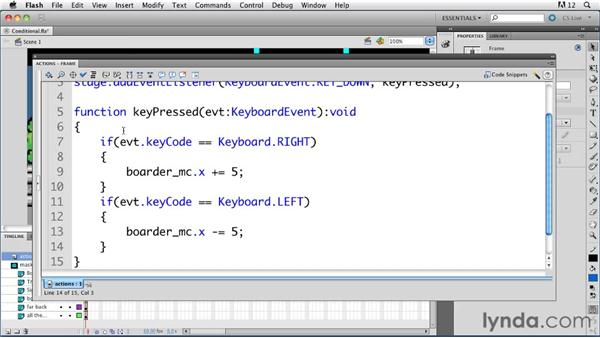 Working with conditional statements : ActionScript 3.0 in Flash Professional CS5 Essential Training