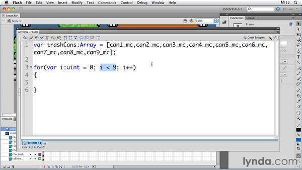 Using the For command to create a loop: ActionScript 3.0 in Flash Professional CS5 Essential Training