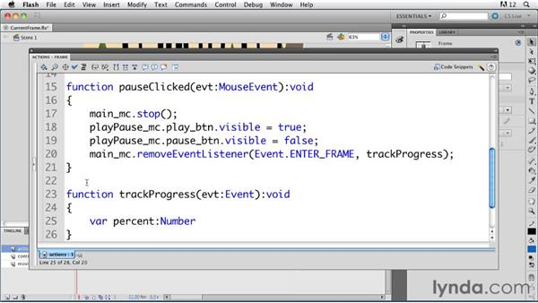 Using the currentFrame and totalFrames properties: ActionScript 3.0 in Flash Professional CS5 Essential Training