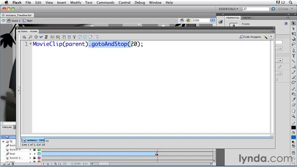 Controlling the timeline of an instance: ActionScript 3.0 in Flash Professional CS5 Essential Training