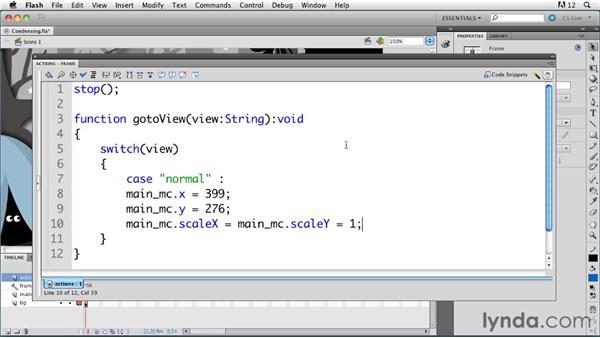 Condensing a multi-frame timeline into one frame: ActionScript 3.0 in Flash Professional CS5 Essential Training