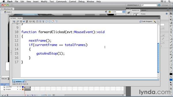 Creating a simple slide presentation app in the timeline: ActionScript 3.0 in Flash Professional CS5 Essential Training