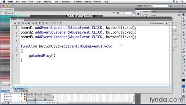 Using one event handler with multiple buttons: ActionScript 3.0 in Flash Professional CS5 Essential Training