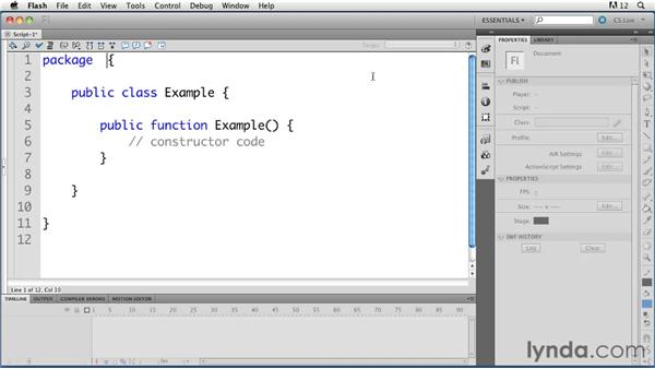 Creating a class using Flash templates: ActionScript 3.0 in Flash Professional CS5 Essential Training