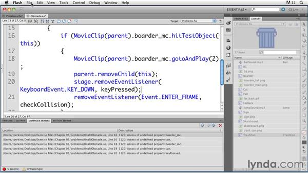Resolving problems with instances in a linked class: ActionScript 3.0 in Flash Professional CS5 Essential Training