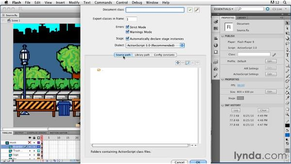 Working with ActionScript source paths : ActionScript 3.0 in Flash Professional CS5 Essential Training