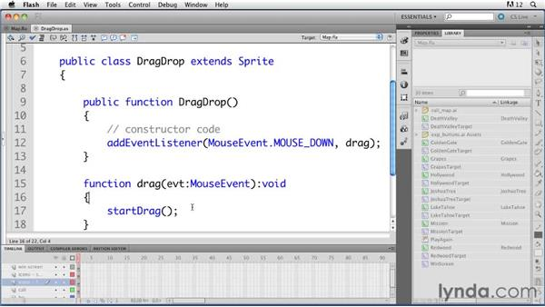 Adding drag-and-drop functionality: ActionScript 3.0 in Flash Professional CS5 Essential Training