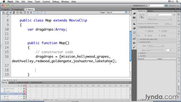 Giving a target drop object to the draggable objects: ActionScript 3.0 in Flash Professional CS5 Essential Training
