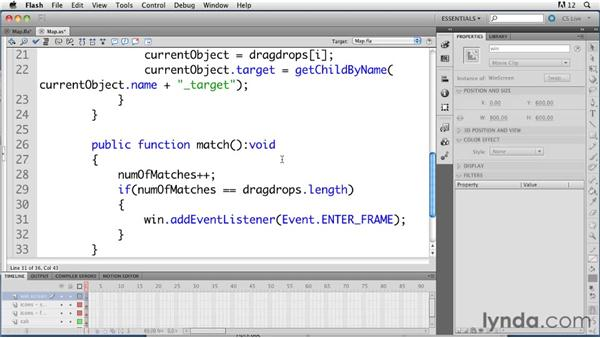 Showing a Win screen: ActionScript 3.0 in Flash Professional CS5 Essential Training