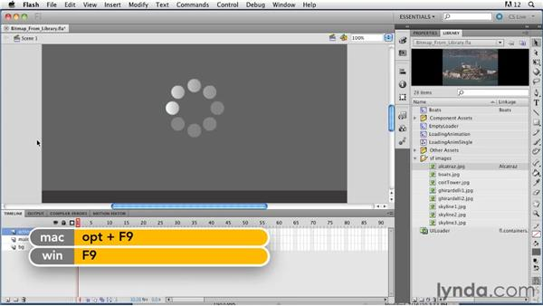 Loading bitmap images from the Library: ActionScript 3.0 in Flash Professional CS5 Essential Training