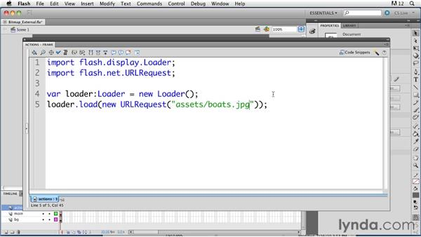 Loading bitmap images from external files: ActionScript 3.0 in Flash Professional CS5 Essential Training