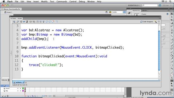 Adding mouse functionality to bitmap images: ActionScript 3.0 in Flash Professional CS5 Essential Training