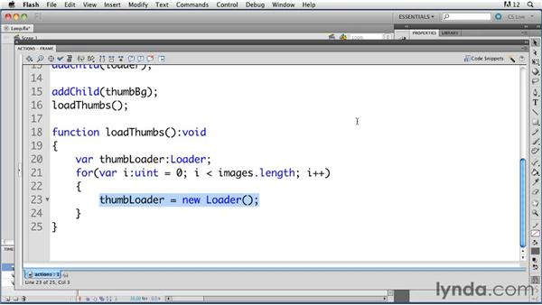 Using a loop to load multiple images: ActionScript 3.0 in Flash Professional CS5 Essential Training