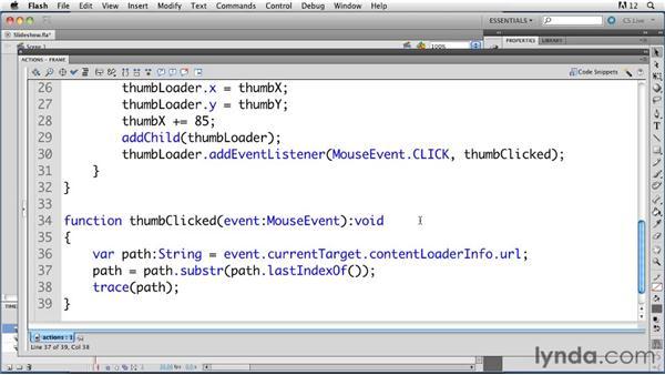 Creating a simple slideshow: ActionScript 3.0 in Flash Professional CS5 Essential Training