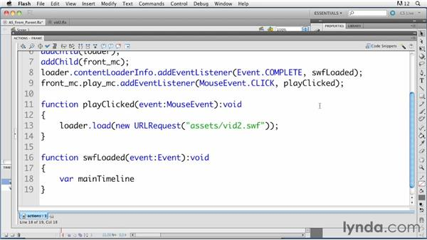 Running ActionScript code in an external SWF from its parent: ActionScript 3.0 in Flash Professional CS5 Essential Training
