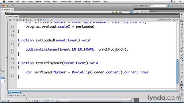 Displaying playback progress of a loaded SWF file: ActionScript 3.0 in Flash Professional CS5 Essential Training