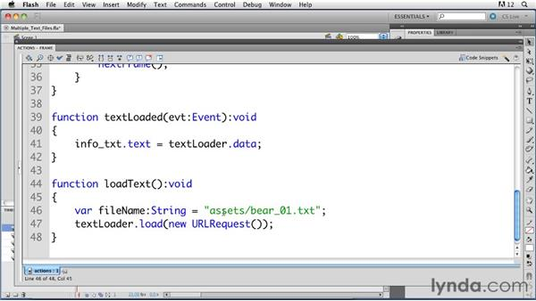 Loading multiple text files: ActionScript 3.0 in Flash Professional CS5 Essential Training