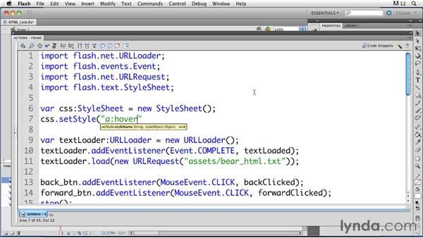 Rendering simple HTML in a text field: ActionScript 3.0 in Flash Professional CS5 Essential Training