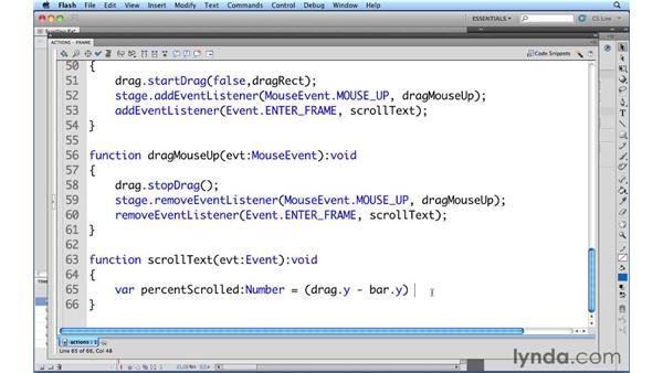 Scrolling a text field: ActionScript 3.0 in Flash Professional CS5 Essential Training