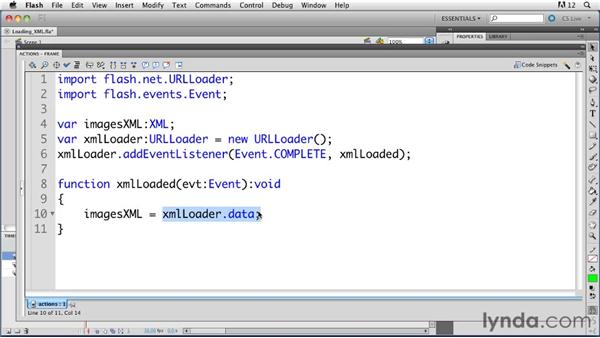 Loading an XML file: ActionScript 3.0 in Flash Professional CS5 Essential Training