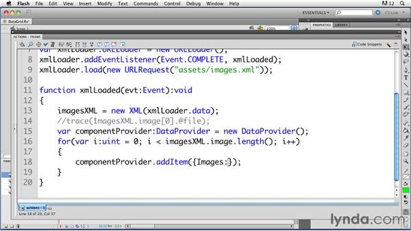 Using XML data to populate a DataGrid component: ActionScript 3.0 in Flash Professional CS5 Essential Training