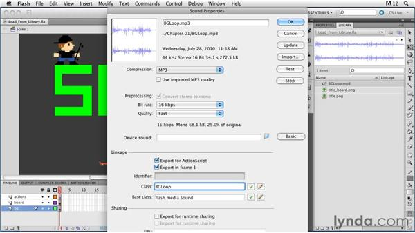 Loading audio from the Library: ActionScript 3.0 in Flash Professional CS5 Essential Training