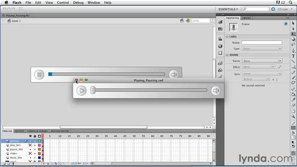 Playing, pausing, and stopping sounds: ActionScript 3.0 in Flash Professional CS5 Essential Training