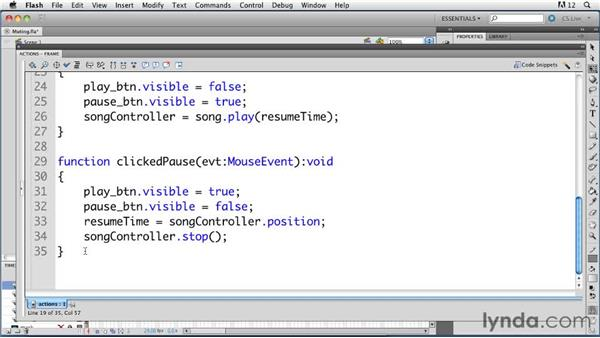 Muting all audio with the SoundMixer.stopAll method: ActionScript 3.0 in Flash Professional CS5 Essential Training