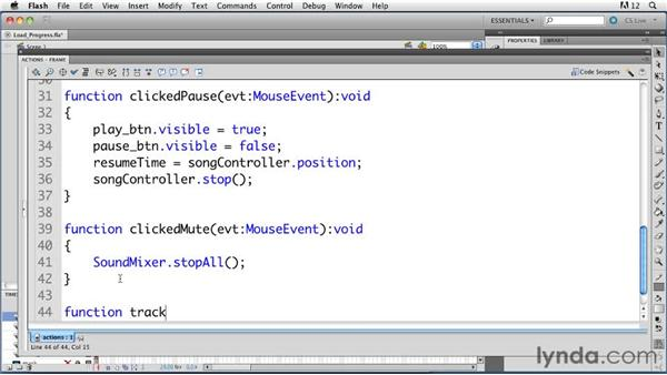 Tracking load progress: ActionScript 3.0 in Flash Professional CS5 Essential Training