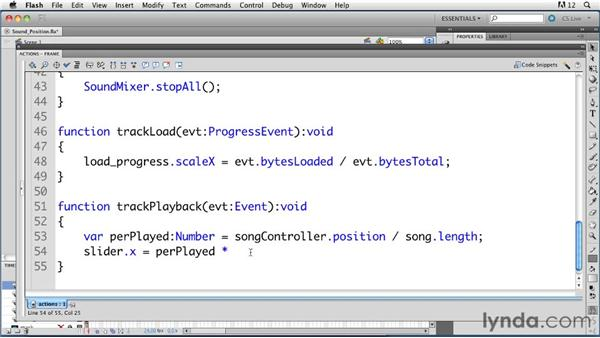 Displaying sound position: ActionScript 3.0 in Flash Professional CS5 Essential Training