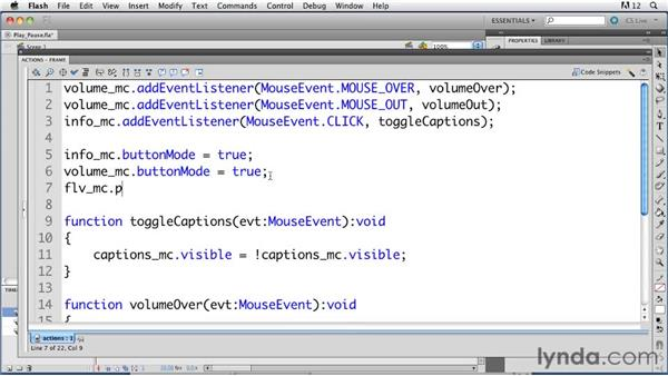 Controlling video playing and pausing with ActionScript: ActionScript 3.0 in Flash Professional CS5 Essential Training