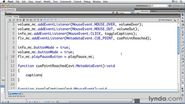 Working with ActionScript cue points to add closed captioning: ActionScript 3.0 in Flash Professional CS5 Essential Training