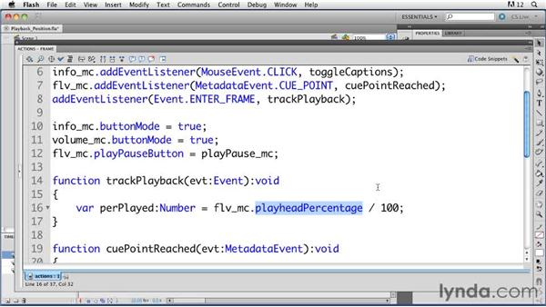 Displaying video playback position: ActionScript 3.0 in Flash Professional CS5 Essential Training