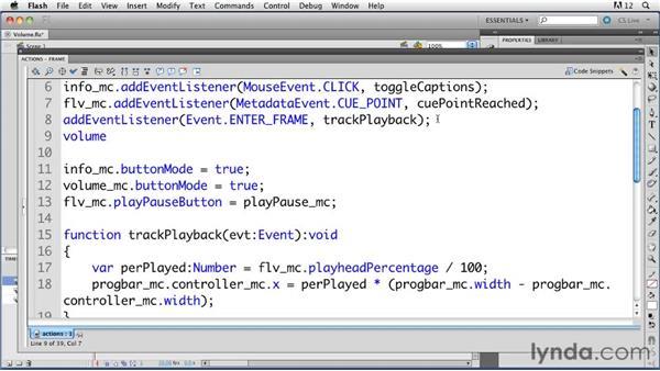 Adjusting video volume: ActionScript 3.0 in Flash Professional CS5 Essential Training