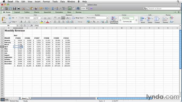 Selecting cells and groups of cells: Excel for Mac 2011 Essential Training
