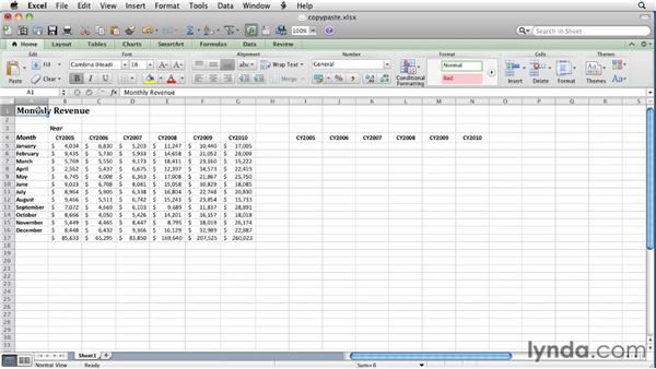 Copying and pasting cell data: Excel for Mac 2011 Essential Training