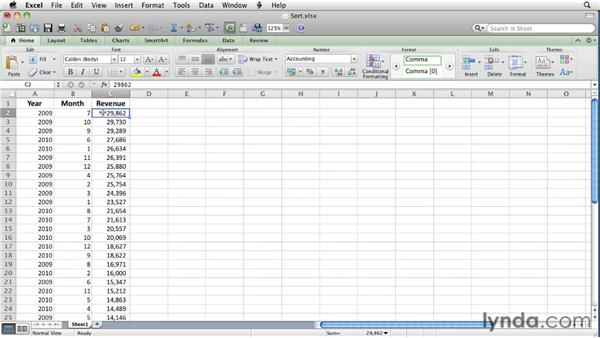 Sorting worksheet data: Excel for Mac 2011 Essential Training