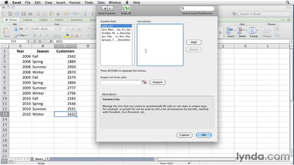 Creating a custom sort order: Excel for Mac 2011 Essential Training