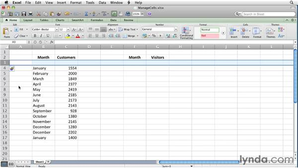 Inserting, moving, and deleting cells and cell ranges   : Excel for Mac 2011 Essential Training
