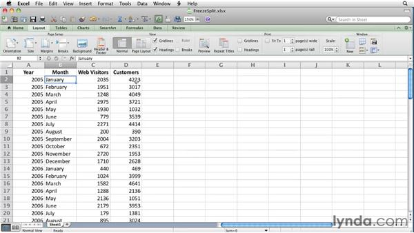 freeze panes in excel mac 2004