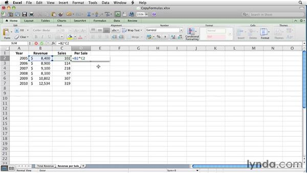 Controlling how Excel copies and pastes formulas: Excel for Mac 2011 Essential Training